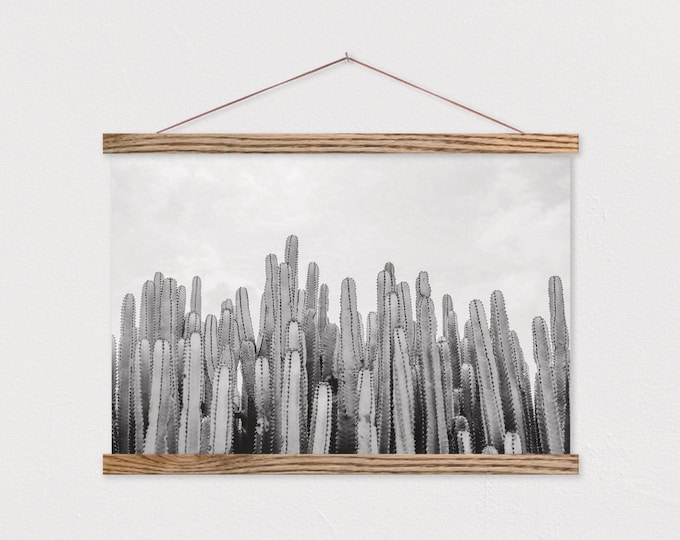 Cactus Gathering Canvas Print with Wood Magnetic Poster Hanger