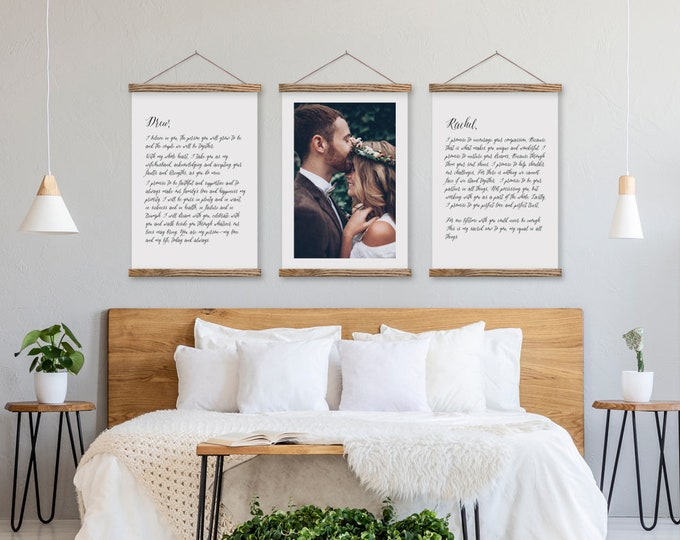 Wedding Vows and Photo Canvas - Anniversary Gift Set - Any amount of text or pix