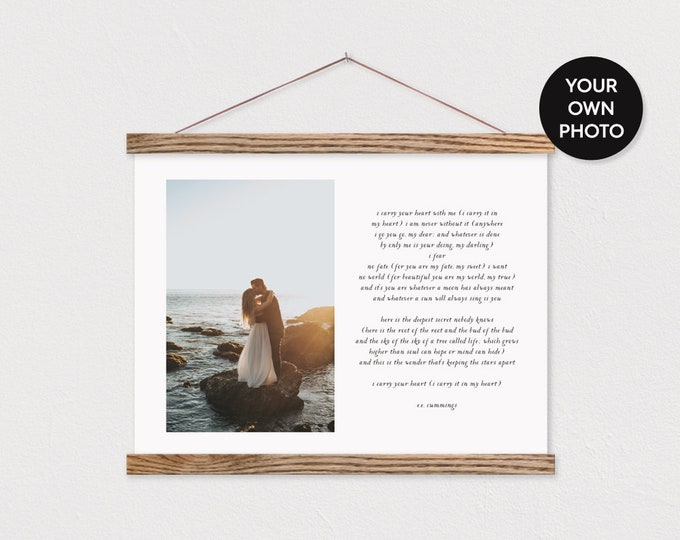 Custom Photo and Poem on Canvas with Wood Magnetic Poster Hanger- Wedding Pix Gift- Gift for her- Anniversary Gift-Custom Gift ART