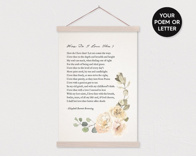 Watercolor Floral Poem Gift - Print Your Poem Wall Hanging - Any pix or text