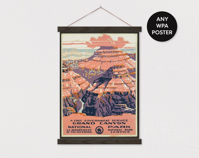 WPA Grand Canyon Poster - Pix Printed on Canvas with Frame - Digitally Enhanced