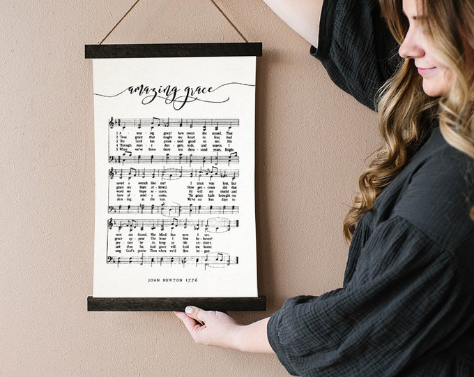 Amazing Grace Hymn Music Canvas Art with Hanger Frame