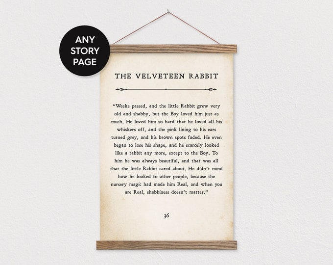 Custom Story Page Canvas Print in Portrait with Wood Magnetic Poster Hanger- Custom Print- Storybook Page-Book Page- Velveteen Rabbit- pix