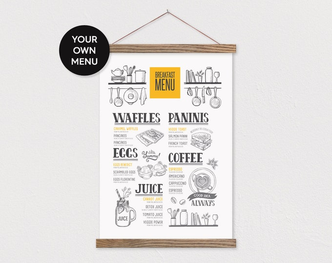 Restaurant Menu Sign Printed on Canvas with Hanging Frame