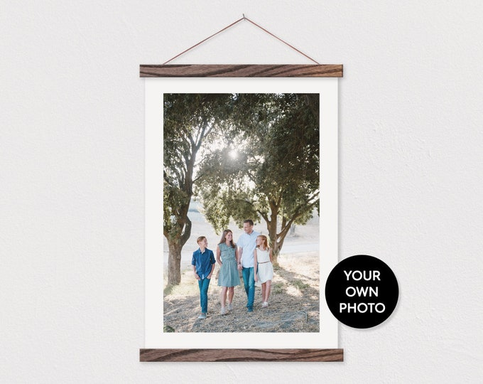 Custom Portrait Photo Printed on Canvas with Wood Magnetic Poster Scroll Frame- Your own Photo Pix - Family Room Custom Photo-Poster Hanger