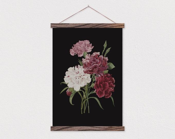 Dark Vintage Botanical Carnation Canvas Print with Wood Magnetic Frame Rails