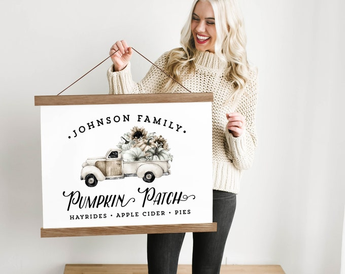 Custom White Pumpkin Patch Truck Sign with Family Name - Canvas & Wood Hanging Frame