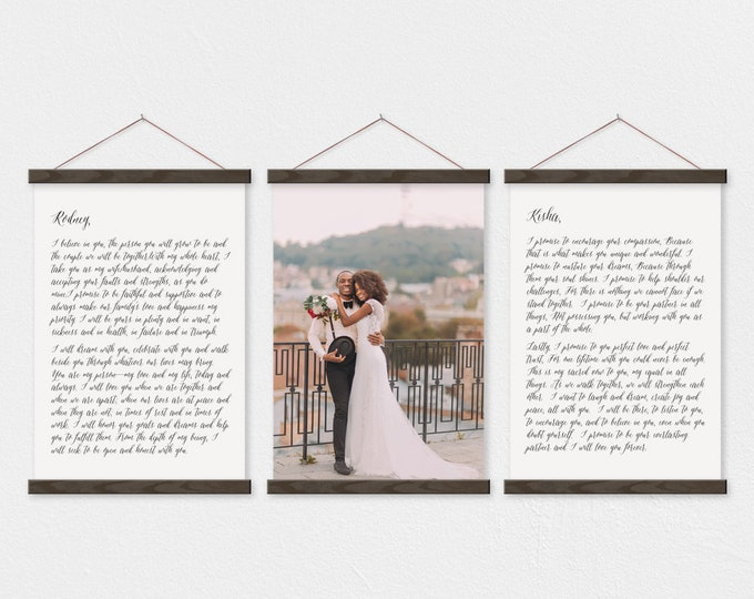 Wedding Vows and Photo Canvas - Anniversary Gift Set - any text or pix
