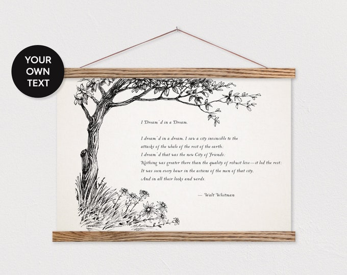 Custom Poem with Tree Drawing - Any Pix or Text - Printed on Canvas with Hanger Frame ART