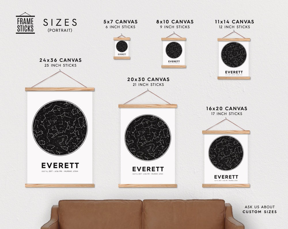 Star Map By Date And Location.Custom Baby Star Chart Canvas Poster With Frame Sticks Accurate