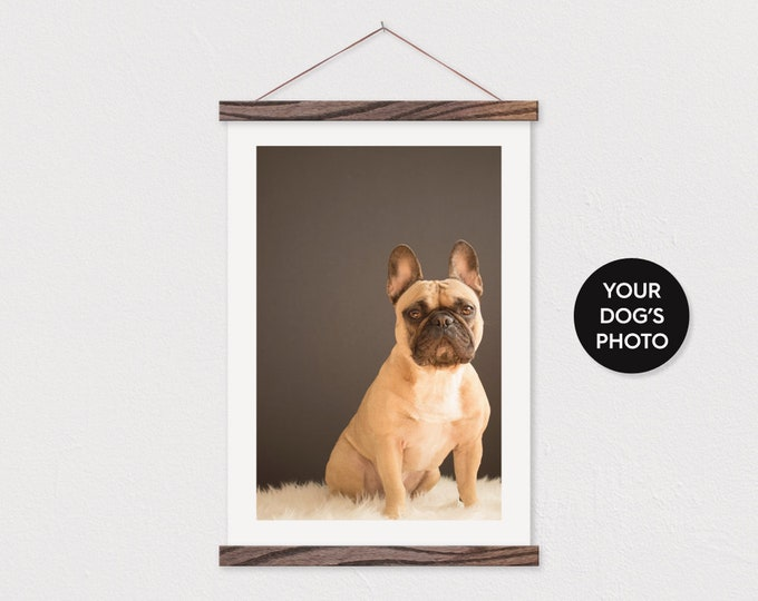 Your own Dog Photo Portrait Printed on Canvas with Wood Magnetic Poster Frame Sticks