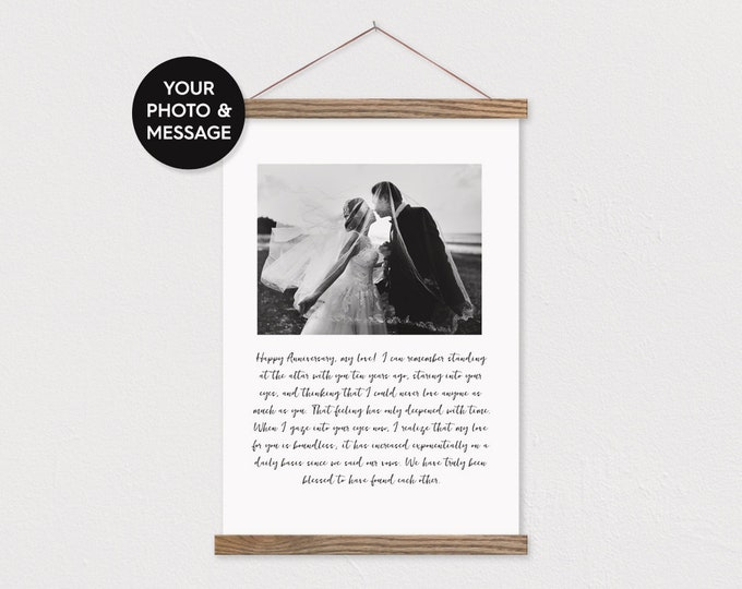 Custom Wedding Photo and Anniversary Message on Canvas with Wood Magnetic Poster Hanger- Wedding Pix Gift- Gift for her- Anniversary Gift