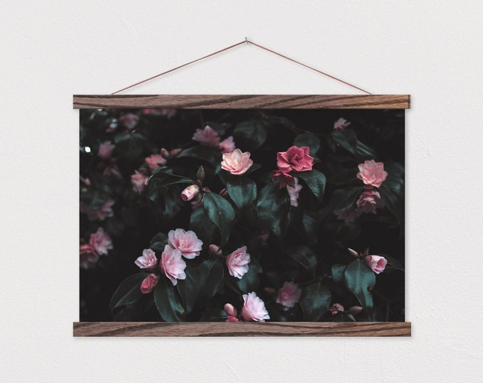 Pink Camellias Canvas Print with Wood Magnetic Poster Hanger