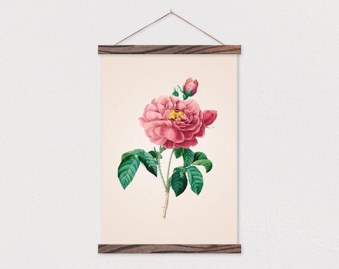 Vintage Botanical Rose printed on Canvas with Wood Magnetic Poster Hanger