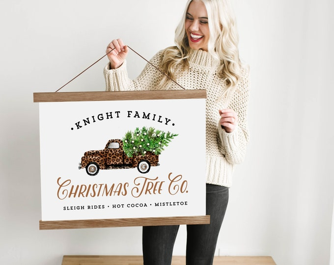 Custom Christmas Leopard Truck Sign with Family Name - Canvas & Wood Hanging Frame