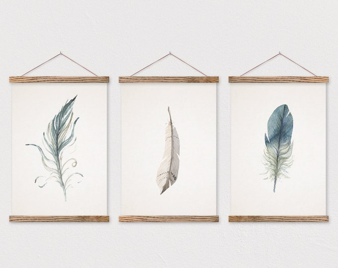 Set of 3 Watercolor Feather Trio on Canvas with Magnetic Wooden Poster Hangers- Poster Wall Hanging- Poster Frame- Nature Wall Decor-Feather