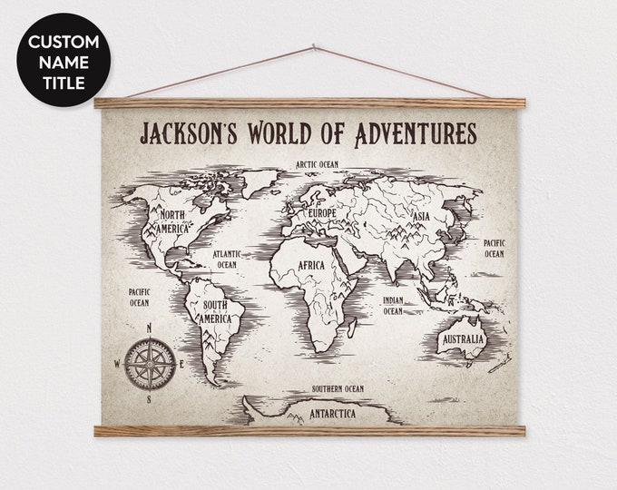 """LARGE 36x48"""" Custom World Map on Canvas with Wood Frame - Kids Adventure Map - Vintage Look Pix ART"""