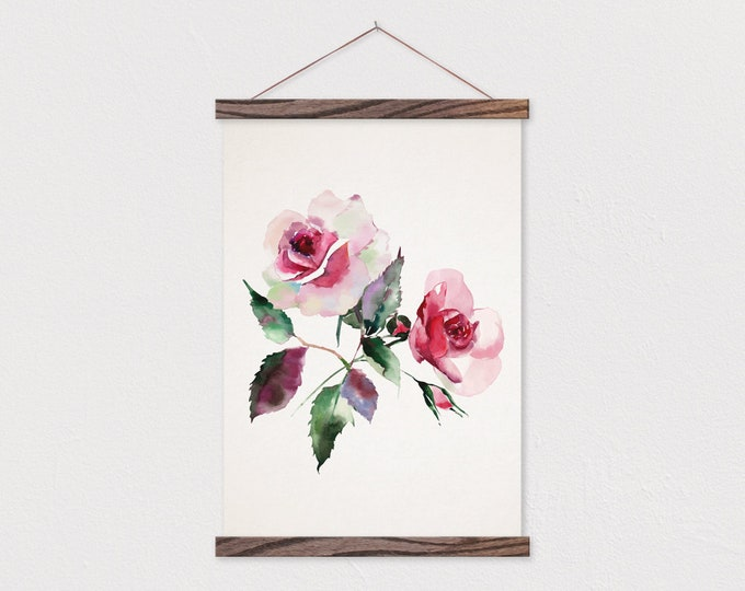 Rosette Design Printed on Canvas with Wood Magnetic Poster Hanger