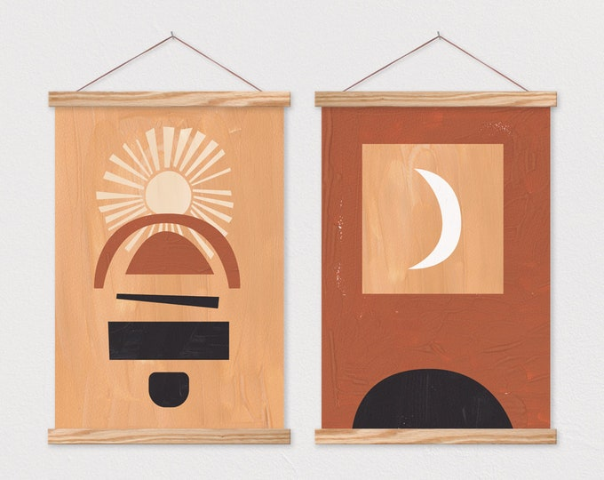 Sun & Moon Duo - Painted Abstract Modern Art Pair with Hanger Frames
