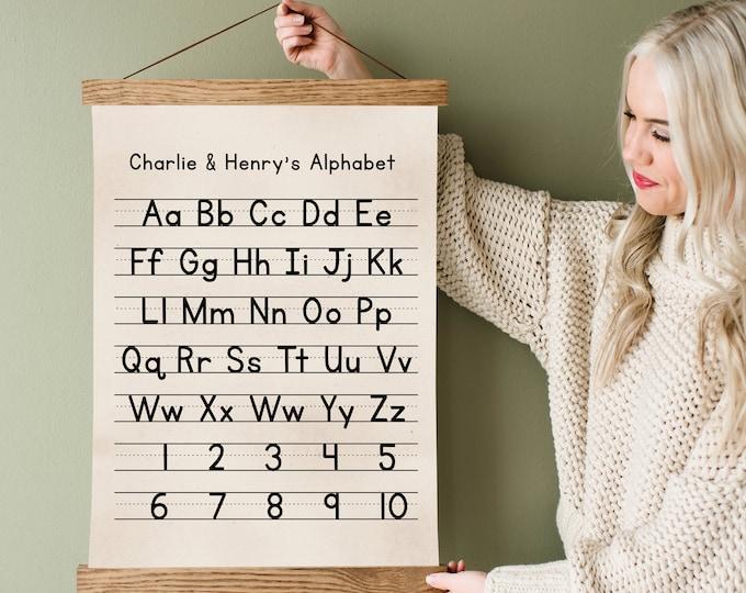 Custom Alphabet Handwriting Chart - Includes Canvas & Wood Frame