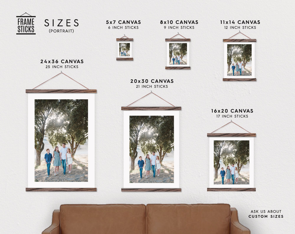 ff1f0b5cf70 Custom Portrait Photo Printed on Canvas with Wood Magnetic Poster Scroll  Frame