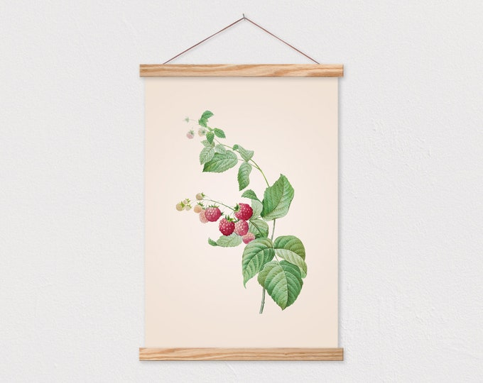 Vintage Botanical Red Raspberries Canvas with Wood Magnetic Poster Frame