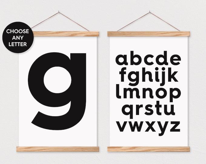 Set of 2 ABC Wall Art- Bold Alphabet Canvas Wall Decor- Poster Hanger- Letter G Pix Wall Art- Nursery Wall Decor- Poster Hanger