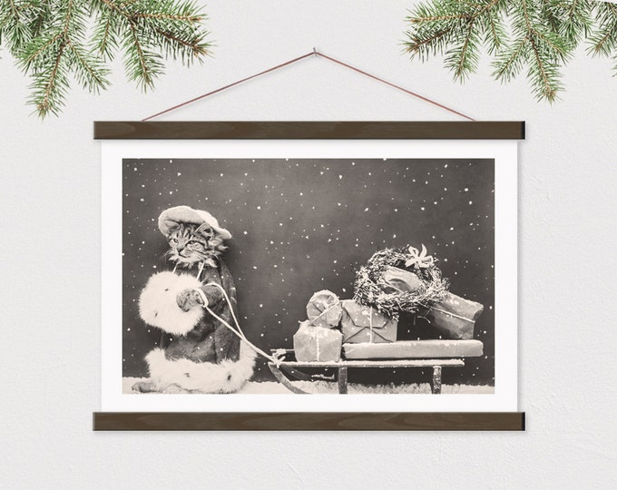 Vintage Christmas Cat Photo from 1914 - Printed on Canvas with Frame ART