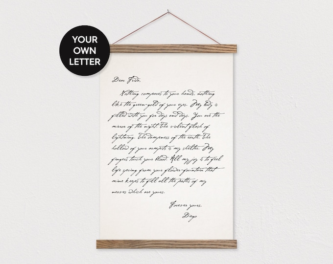Custom Love Letter Canvas Print with Wood Poster Hanger- Flat Canvas-Pix Gift for Her- Hanger Frames Custom Love Letter