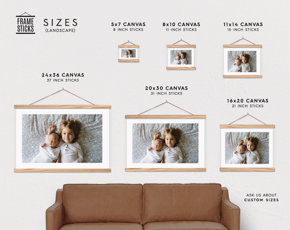 Custom Landscape Photo Printed on Canvas with Wood Magnetic Poster ...