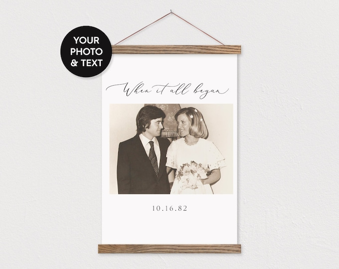 Anniversary Gift - Custom Vintage Photo Canvas Pix with Hanger Frame