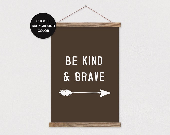 Be Kind & Brave - Boy Nursery Woodland Wall Hanging