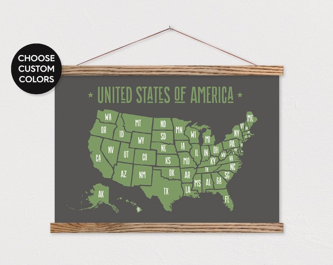 USA Map - Customizable Colors - with Hanger Frame ART