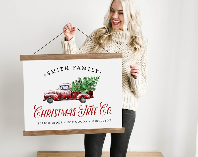 Custom Christmas Red and Black Truck Sign with Family Name - Canvas & Wood Hanging Frame