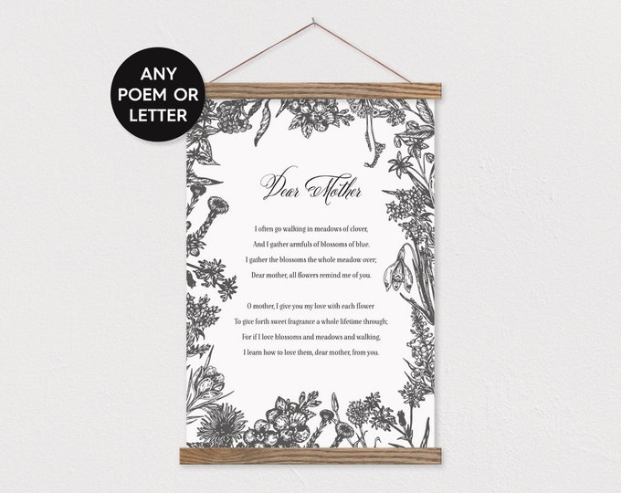 Dear Mother Poem OR Any Poem or Letter - Custom Canvas with Wood Poster Frame - Any words or pix