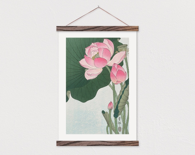 Chinese Lotus Blossom with Modern Scroll Frame