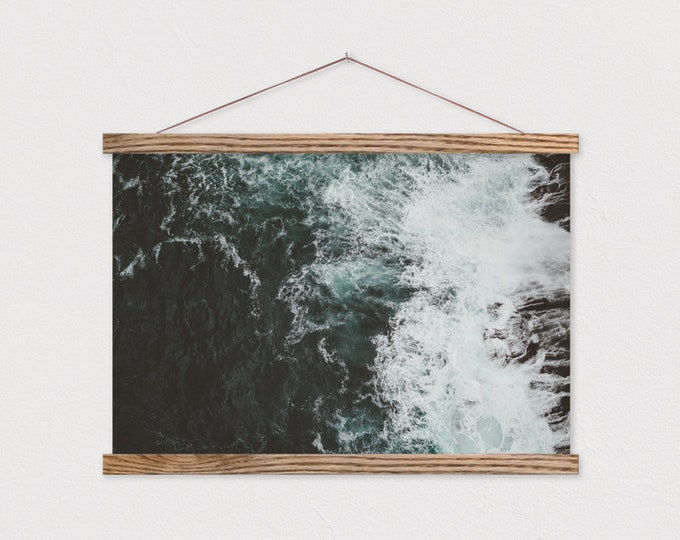 Crashing Seas Canvas Print with Real Wood Magnetic Scroll Hanger