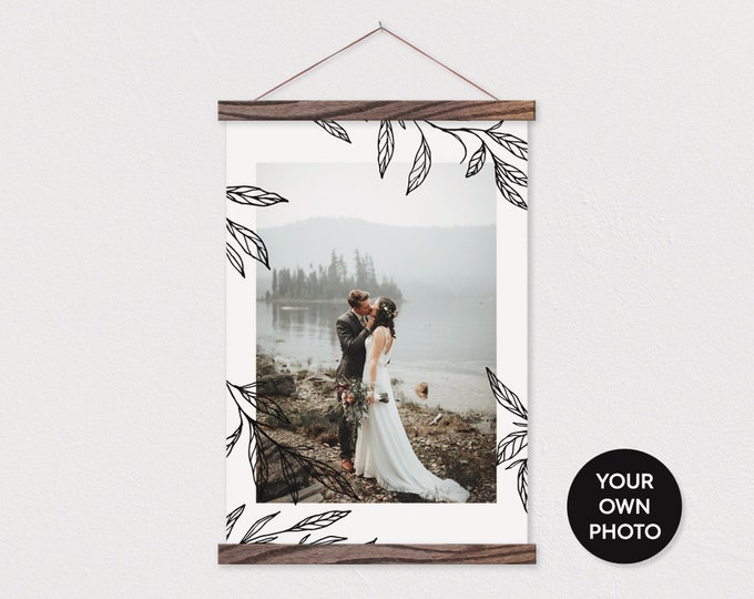 Custom Photo printed on Canvas with Black an White Leaf Sketched Border Wood Magnetic Frame Sticks