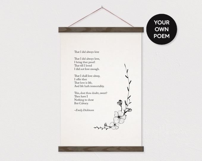 Custom Flower Poem Art Print on Canvas with Hanger Frames - Any words or pix