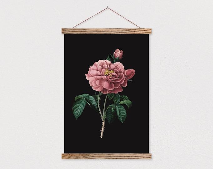 Dark Vintage Botanical Rose Canvas Print with Wood Magnetic Frame Sticks