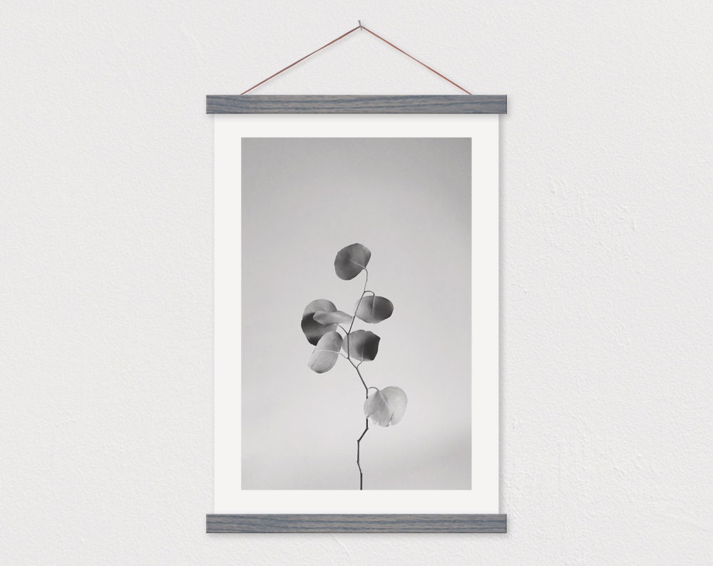 Minimal Eucalyptus Canvas Print with Wood Magnetic Poster Frame