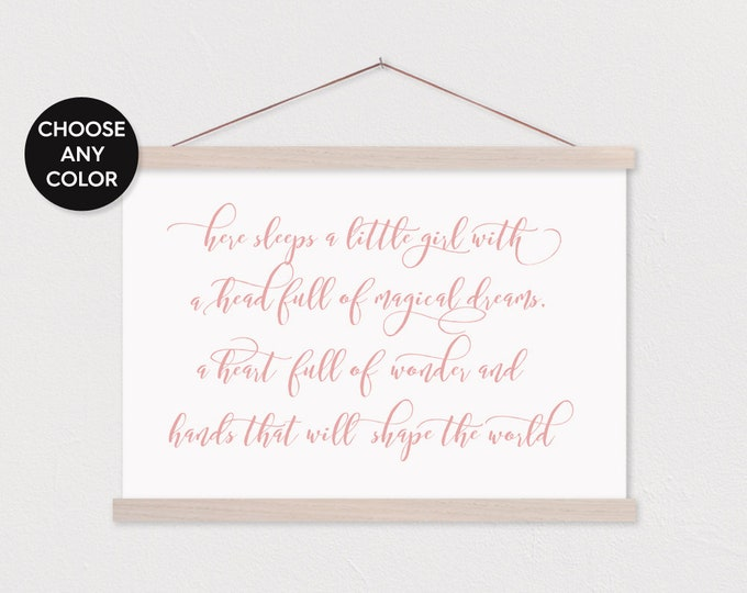 Here sleeps a little girl Canvas Print with Wood Magnetic Poster Hanger