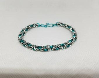 2 tone Byzantine chain maille bracelet. Aluminum
