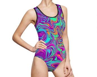 b57b2d8b3f1f6 Paint Swirl, Women's Classic One-Piece Swimsuit; swimwear one piece swimsuit  psychedelic bathing suit girls swimsuit beachwear paint swirls
