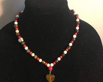 Tigers eye heart necklace