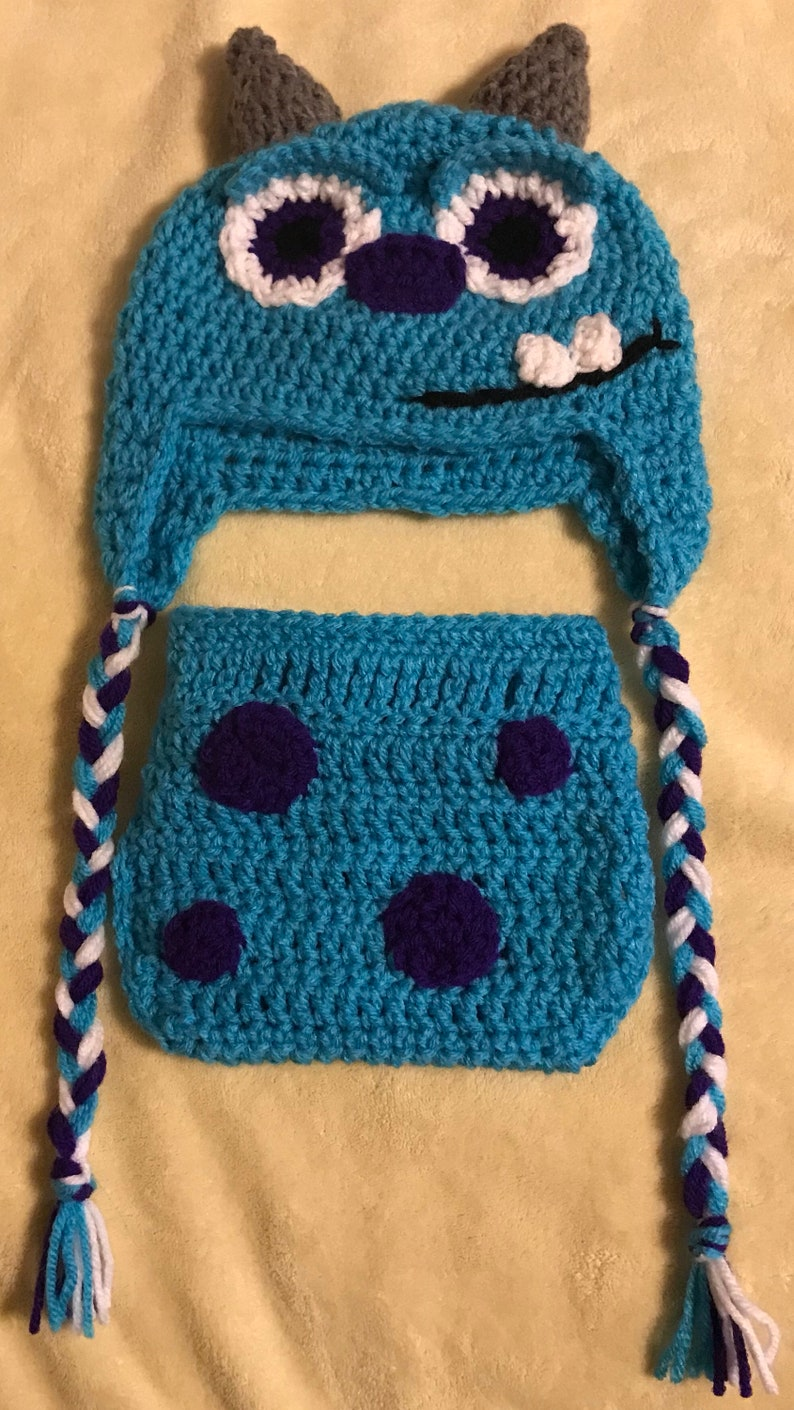 0bcc884b68d Monsters inc sully crochet hat and diaper cover 3-6 months.
