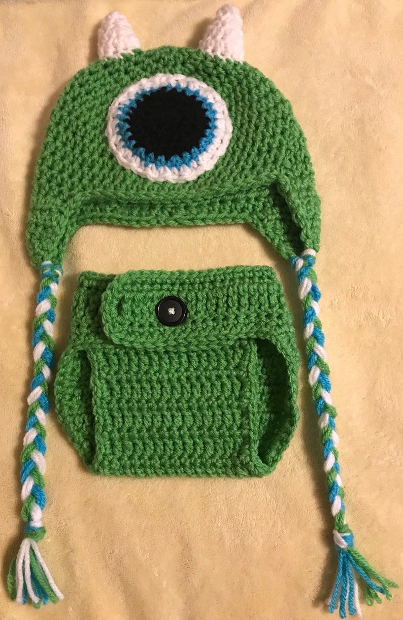 4480c6d96d6 Monstes inc. Mike crochet hat and diaper cover 3-6 months