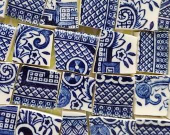 Vintage Blue Willow Mosaic Tiles - Set of 100 - Handcut China White Cobalt Deep True Blue Classic - Edge Only