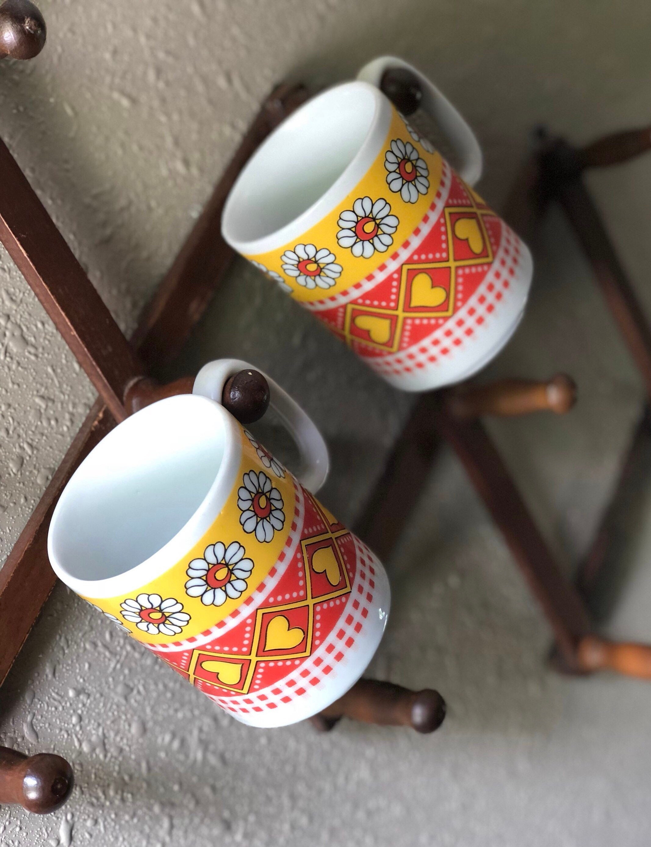 Retro Pair Stackable Coffee Mugs Set Of 2 Yellow And Orange Etsy