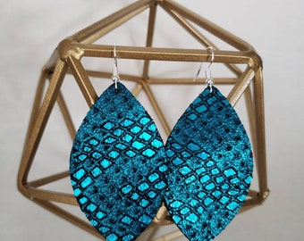 Teal genuine leather teardrop & leaf earrings, metallic, medium,